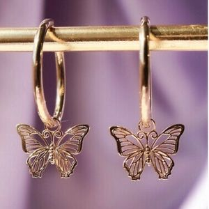 New 14k Rose Gold Plated Butterflies Earrings